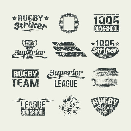 threadbare: Badges college rugby team in retro style. Dark emblem on a light background