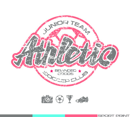 Soccer club emblem in retro style. Graphic design for t-shirt. Color  print on white background