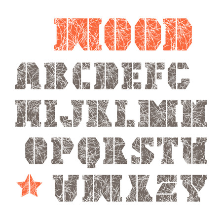warlike: Stencil-plate serif font with texture of the branches. Color font on white background