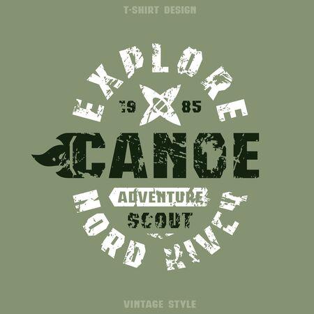 Adventure on canoe badge. Graphic design for t-shirt. Black and white print on khaki background