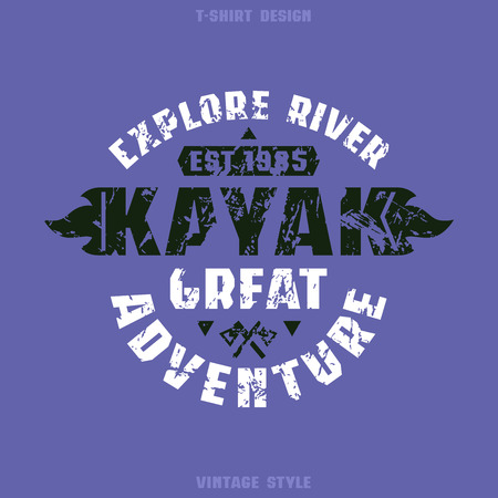 black white kayak: Adventure on kayak badge. Graphic design for t-shirt. Black and white print on  violet background
