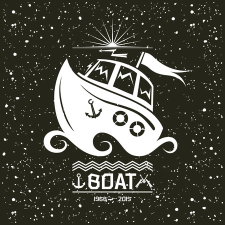 Illustration of a small boat emblem in flat style with texture. White print on a black background