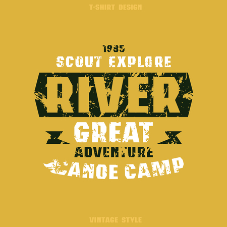 Camping badge. Graphic design for t-shirt. Black and white print on orange background