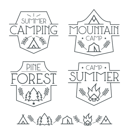 Camping badges and icons in thin line style. Graphic design for t-shirt. Black lines on a white background