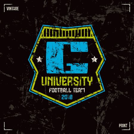 laconic: University football team. Graphic design for t-shirt. Color print on black background