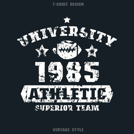 rugby team: University rugby team emblem. Graphic design for t-shirt. White print on black  background
