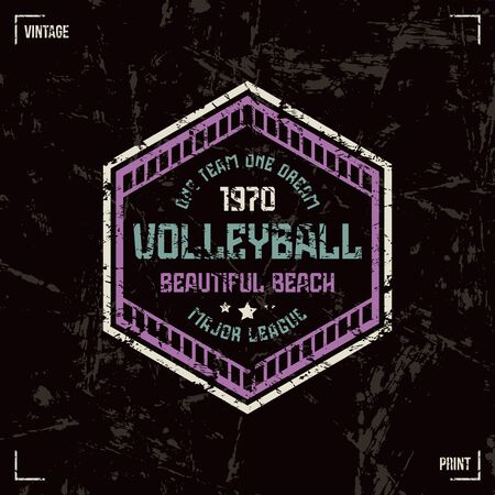 laconic: Volleyball team hexagonal badge. Graphic design for t-shirt. Color print on black  background Illustration