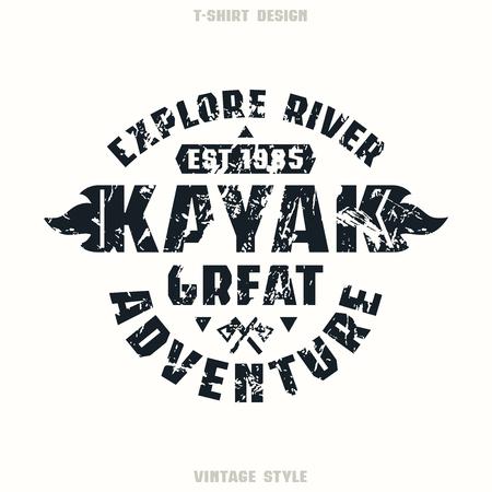 Adventure on kayak badge. Graphic design for t-shirt. Black print on white background Illustration