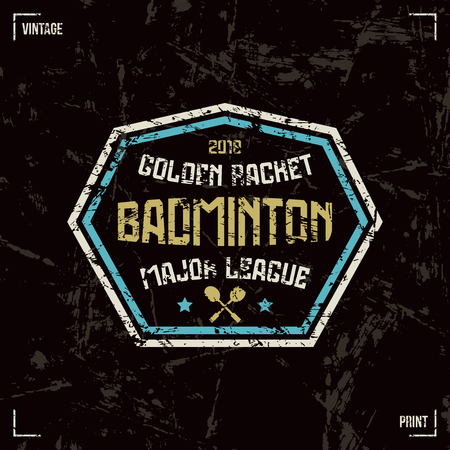 laconic: Badminton badge. Graphic design for t-shirt. Color print on black background