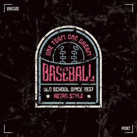 laconic: Baseball team badge. Graphic design for t-shirt. Color print on black  background