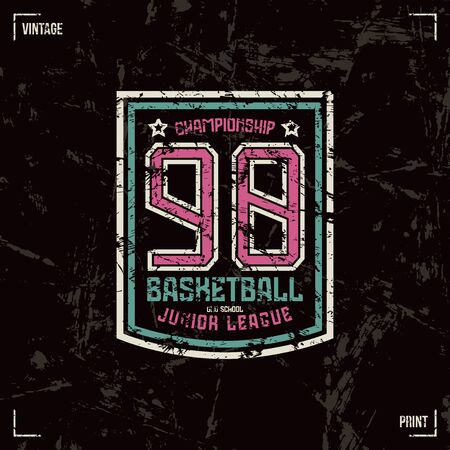 juniors: Basketball badge. Graphic design for t-shirt. Color print on black background