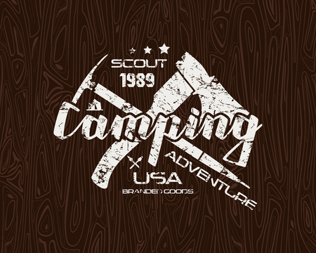 conquest: Camping emblem with shabby texture. Graphic design for t-shirt. White print on wood texture background Illustration