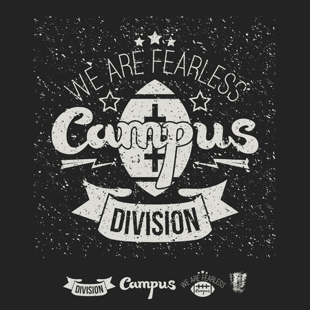 rebellious: Campus rugby emblem and icons graphic design for t-shirt. Print on a dark background