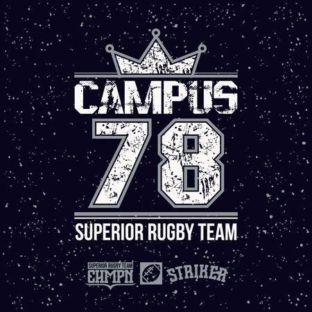 major league: Campus rugby team emblem in retro style. Trendy graphic design for t-shirt. Color print on a black background