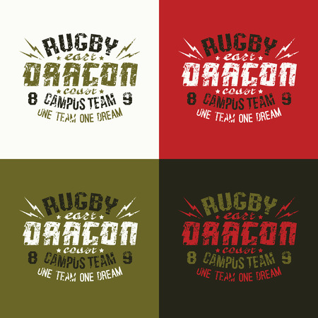 variants: Campus rugby team emblem. Graphic design for t-shirt.  Variants of a coloring