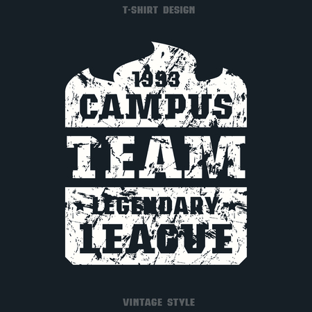 campus: Campus sports emblem. Graphic design for t-shirt. White print on black  background