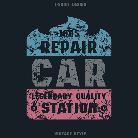 Car repair badge. Graphic design for t-shirt. Color print on black background