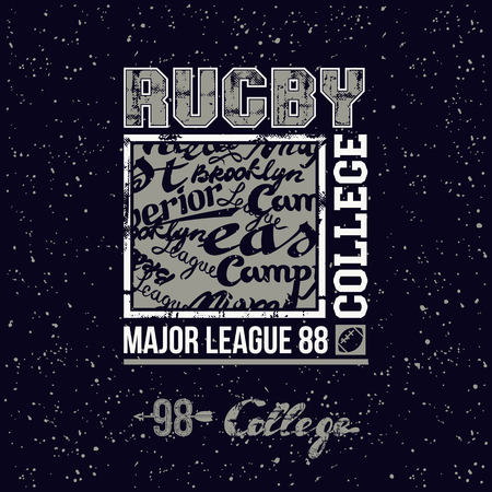 major league: College print rugby team in retro style. Trendy graphic design for t-shirt. Color print on a black background