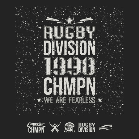 rugby team: College rugby team emblem and icons graphic design for t-shirt. White drawing on a black background
