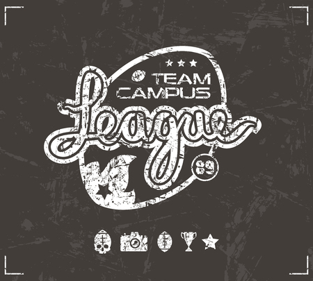 rugby team: College rugby team emblem in retro style. Graphic design for t-shirt. White  print on brown background Illustration