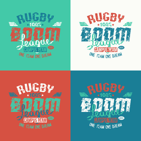 rugby team: College rugby team emblem in retro vintage style. Graphic design for t-shirt Illustration
