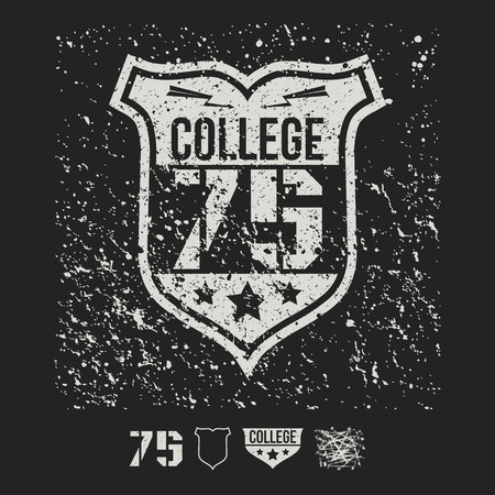 rebellious: College sport emblem and design elements graphic design for t-shirt. White print on a dark background