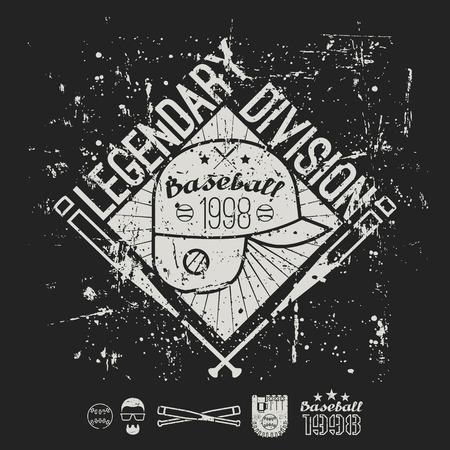 legendary: Emblem baseball legendary division of college. Graphic design for t-shirt.  White print on a  black background