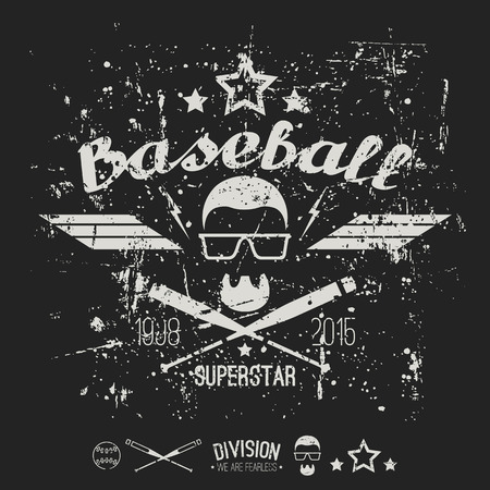 superstar: Emblem baseball superstar college team. Graphic design for t-shirt.  White print on a  black background