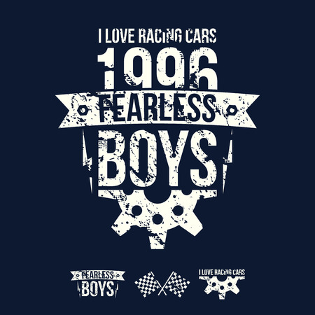 fearless: Emblem of the fearless riders boys in retro style. Graphic design for t-shirt. White print on dark background