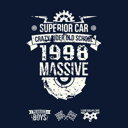 superior: Emblem of the massive superior car in retro style. Graphic design for t-shirt. White print on dark background Illustration