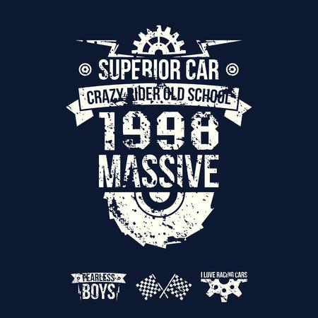 boyish: Emblem of the massive superior car in retro style. Graphic design for t-shirt. White print on dark background Illustration