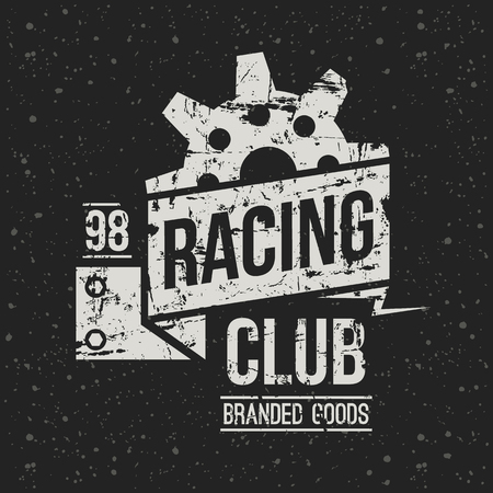 emblem racing: Emblem racing club in retro style. Graphic design for t-shirt. White print on f dark background