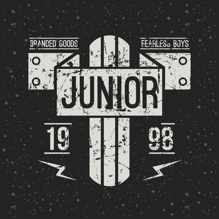 emblem racing: Emblem racing junior in retro style. Graphic design for t-shirt. White print on f dark background