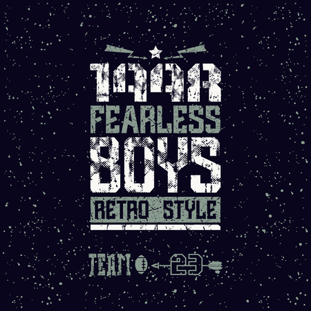 nineties: Fearless boys team emblem. Graphic design for t-shirt. Color print on a black background