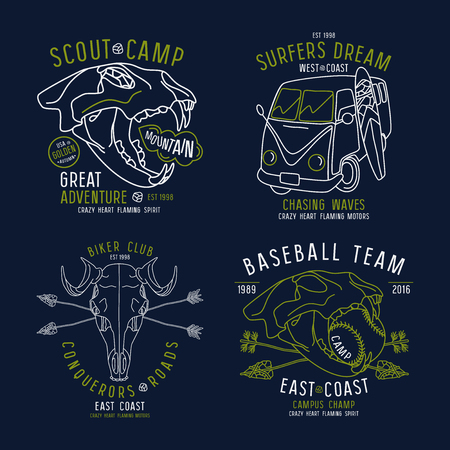 surf team: Graphic design for t-shirt in thin line style. Color print on dark blue background