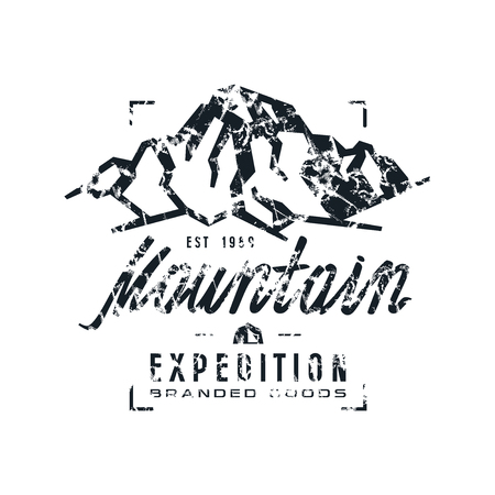 expedition: Mountain expedition label with shabby texture. Graphic design for t-shirt. Black  print on white background