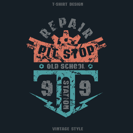 pit: Pit stop badge with shabby texture. Graphic design for t-shirt. Color print on black background