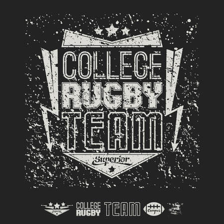 rebellious: College team American football emblem and icons graphic design for t-shirt. White drawing on a black background Illustration
