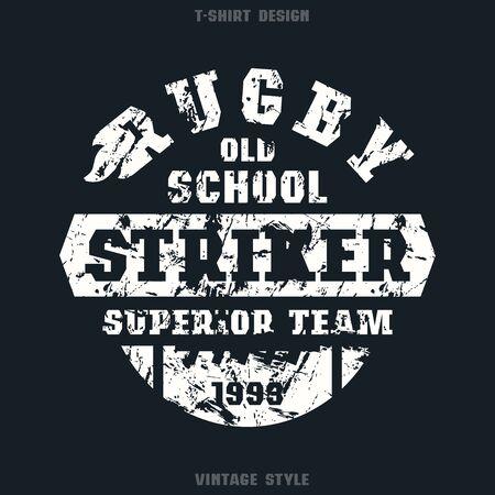 striker: Rugby striker emblem. Graphic design for t-shirt. White print on black  background Illustration