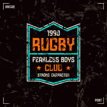 rugby team: Rugby team badge. Graphic design for t-shirt. Color print on black background