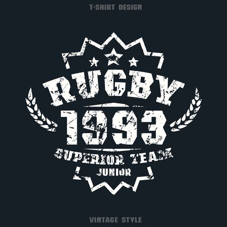 rugby team: Rugby team emblem. Graphic design for t-shirt. White print on black  background