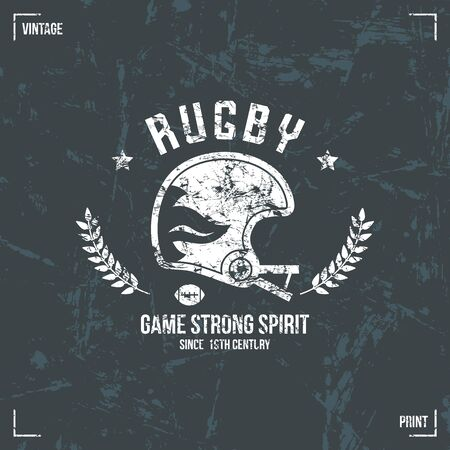 rugby team: Rugby team helmet emblem in retro style. Graphic design for t-shirt. White  print on a dark background Illustration