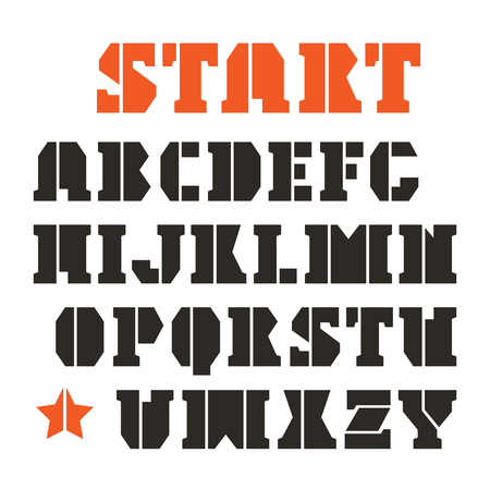 serif: Serif stencil-plate font in geometric style. Black font on white background
