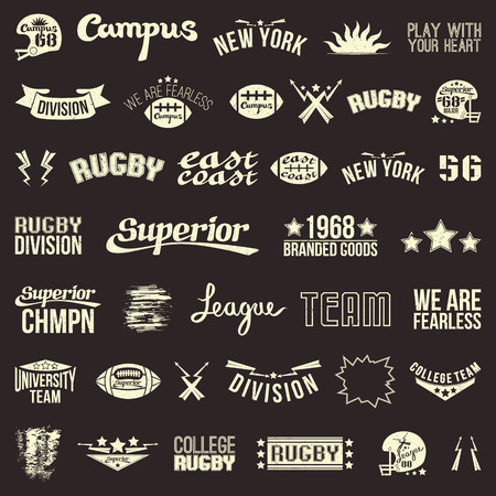 rugby team: Badges college rugby team in retro style. Light emblem on a dark background