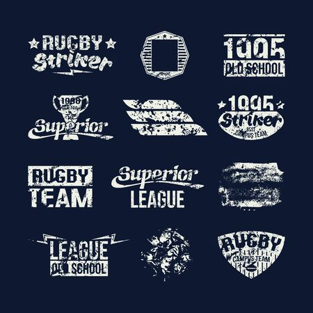 rugby team: Badges college rugby team in retro style. White emblem on a dark background