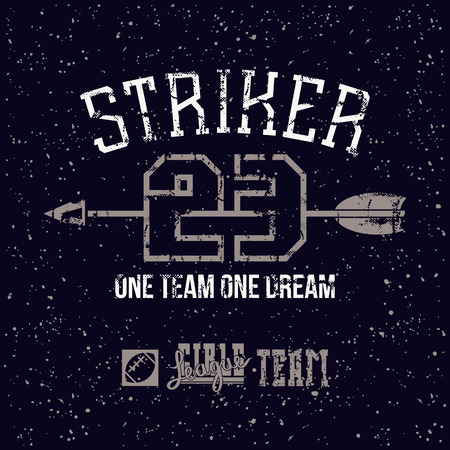 striker: Sports print striker in retro style. Trendy graphic design for t-shirt. Color print on a black background