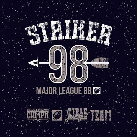 boyish: Striker emblem. Graphic design for t-shirt. Color print on a black background