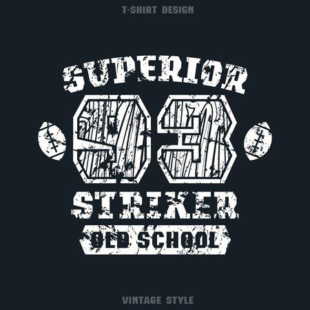 striker: Superior striker emblem. Graphic design for t-shirt. White print on black  background