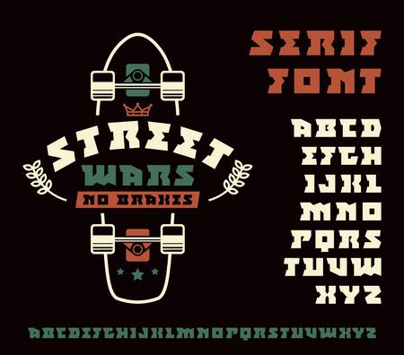 serif: Square serif font and longboard emblem. Graphic design for t-shirt. Color print on black  background