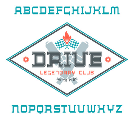 racing emblem: Square serif font with racing emblem. Color print on white background